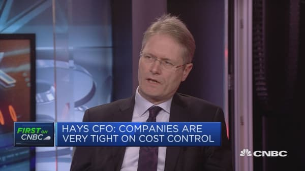 Hays CFO: Seeing a lot of investment from US into Europe