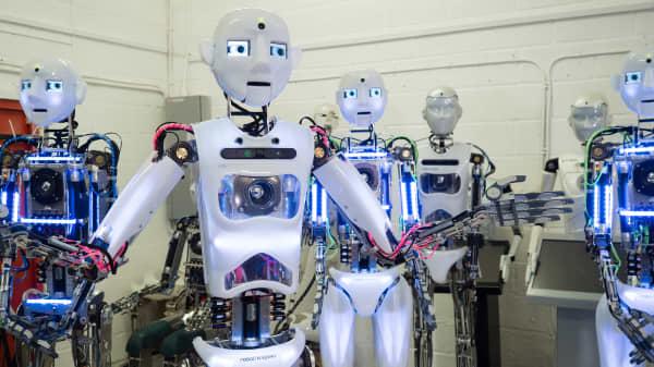 RoboThespian is a humanoid robot designed by U.K. robotics company Engineered Arts.