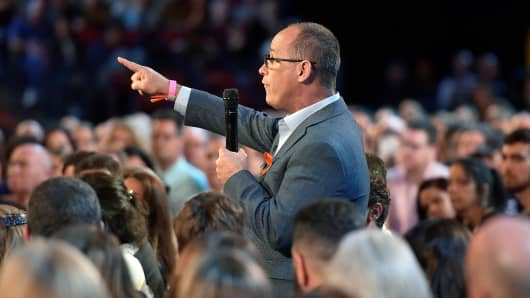 Fred Guttenberg asks Marco Rubio a question during a CNN town hall meeting, at the BB&T Center, in Sunrise, Florida, February 21, 2018.