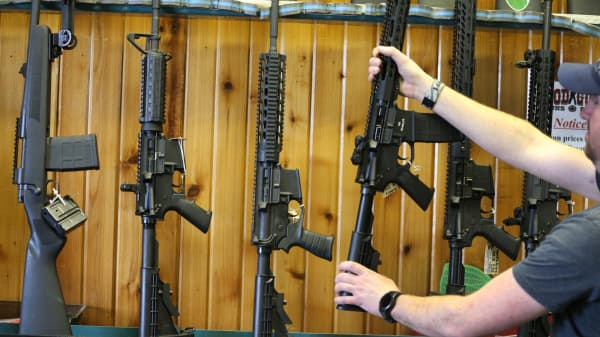 Semi-automatic AR-15's on display.