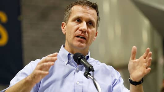 In this Jan. 29, 2018, file photo, Missouri Gov. Eric Greitens speaks in Palmyra, Mo.