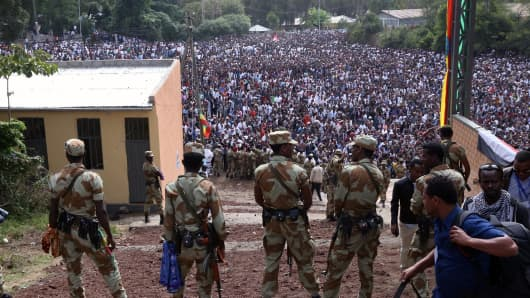 Security measures are taken as the Oromo people protest against government during the Irreecha holiday in Addis Ababa, Ethiopia, on October 2, 2016.