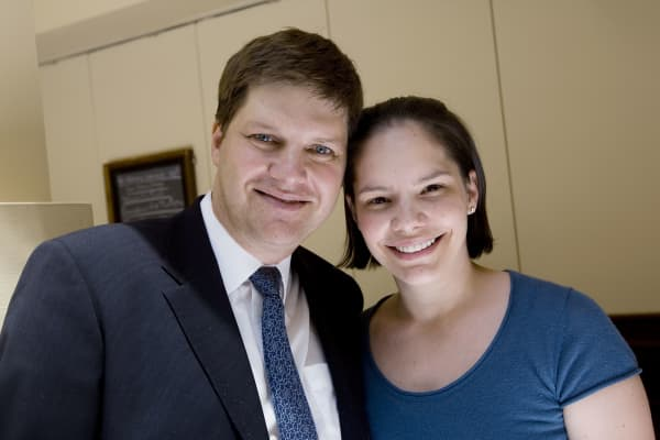 Guy and Lory Spier stand for a picture at Smith & Wollensky's before having lunch with billionaire investor Warren Buffett, chairman of Berkshire Hathaway, in New York, U.S., on Wednesday, June 25, 2008.