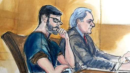 Martin Shkreli and Ben Brafman in court, February 23, 2018.
