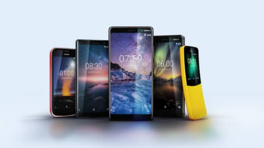 The full range of Nokia-branded phones launched by HMD Global at Mobile World Congress 2018 in Barcelona.