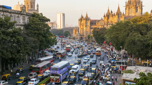 Chhatrapati Shivaji Terminus train station (previously named Victoria Terminus) and central Mumbai, India