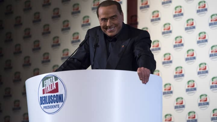 Silvio Berlusconi, President of Forza Italia (Go Italy) and former Italian Prime Minister, gives a speech during a political rally on February 25, 2018 in Milan, Italy.
