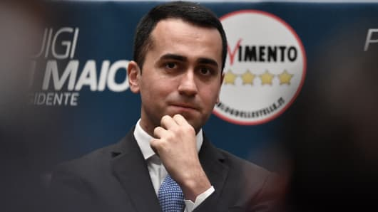 Leader of the anti-establishment Five Star Movement (M5S), Luigi Di Maio looks on during the presentation of the movement's candidates for the upcoming March general elections, on January 29, 2018, in Rome.