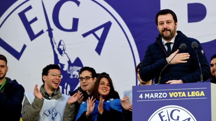 Matteo Salvini leader of Lega Nord party speaks during the Lega Nord demonstration in Piazza Duomo on February 24, 2018 in Milan, Italy.
