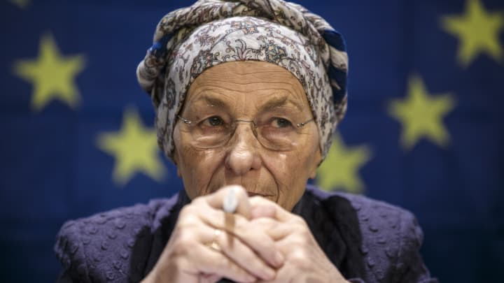 Emma Bonino attends a press conference on February 20, 2018 in Milan, Italy. Bonino, leader of Piu Europa (also +Europa, 'More Europe'), a pro-Europeanist coalition of centre-left parties, is running for the Premiership at the next elections.