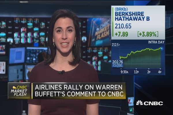 Airlines rally on Warren Buffett's comments to CNBC