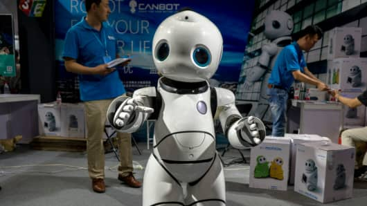 A robot on show at the Beijing International Consumer electronics Expo on July 8, 2017.
