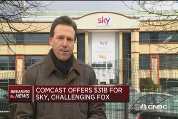 Comcast looks to outbid Fox for 'Sky'