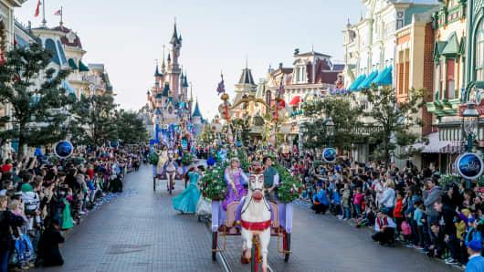 Atmosphere during the Disneyland Paris 25th Anniversary Parade at Disneyland Paris