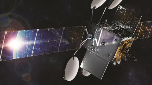 A rendering of the ViaSat-2 satellite in orbit.