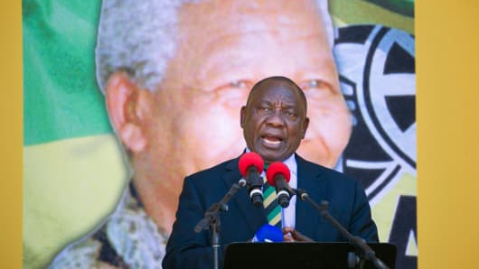 South African President Cyril Ramaphosa speaks at a rally on February 11, 2018, in Cape Town.