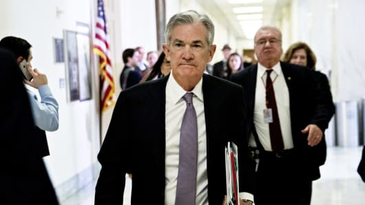 Jerome Powell, chairman of the U.S. Federal Reserve, walks through the Rayburn House Office building before a House Financial Services Committee hearing in Washington, D.C., U.S., on Tuesday, Feb. 27, 2018.
