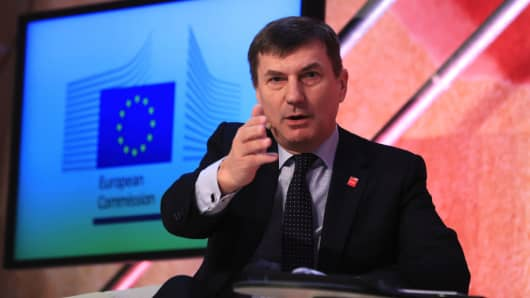 Andrus Ansip, vice president for digital at the European Commission (EC), gestures as he speaks during a fireside chat at the CeBIT 2017 tech fair in Hannover, Germany, on Monday, March 20, 2017.
