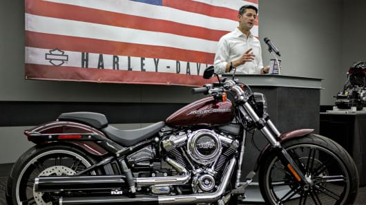 House Speaker Paul Ryan, a Republican from Wisconsin, speaks during a news conference following a tour of the Harley-Davidson Inc. facility in Menomonee Falls, Wisconsin, U.S.