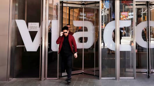A person exits the Viacom offices in New York.