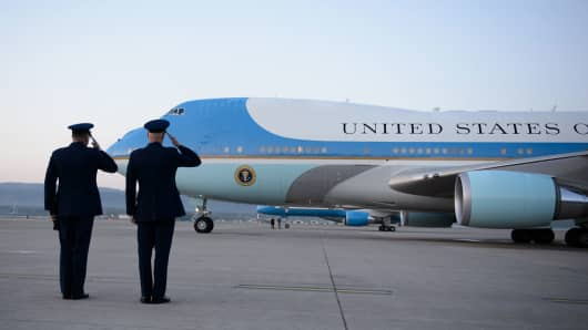 Air Force general officers salute the President of the U.S. as he departs April 20, 2016, at Ramstein Air Base, Germany.