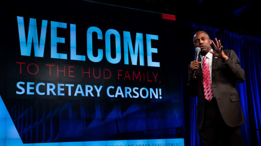 US Secretary of Housing and Urban Development Ben Carson speaks to employees on his first day at the Department of Housing and Urban Development March 6, 2017 in Washington, DC.