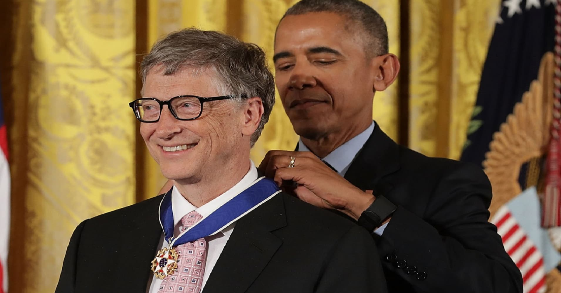 President Barack Obama awards the Presidential Medal of Freedom to Microsoft founder Bill Gates and his wife Melinda Gates, who have donated billions of dollars globally to promote health and fight poverty, during a ceremony in the East Room of the White House November 22, 2016 in Washington, DC.