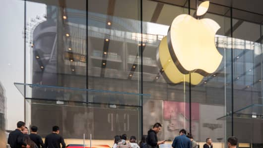 An Apple store on Nanjing East Road on November 3, 2017 in Shanghai, China.