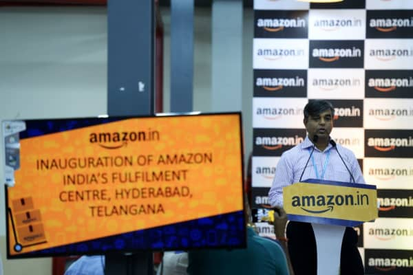 Vice President of Indian Amazon Customer Fulfilment Akhil Saxena, speaks at the launch of Amazon's Largest Fulfillment Centre (FC) in Hyderabad, India