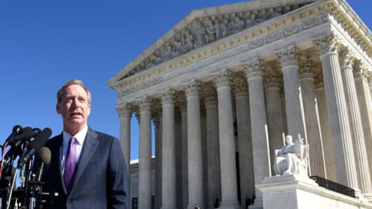 Brad Smith, President and Chief Legal Officer of Microsoft in front of the Supreme Court in Washington, DC, on February 27, 2018.