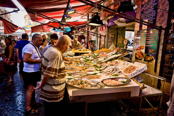 Fresh fish stall in the Capo Market on August 10, 2016 in Palermo, Italy.