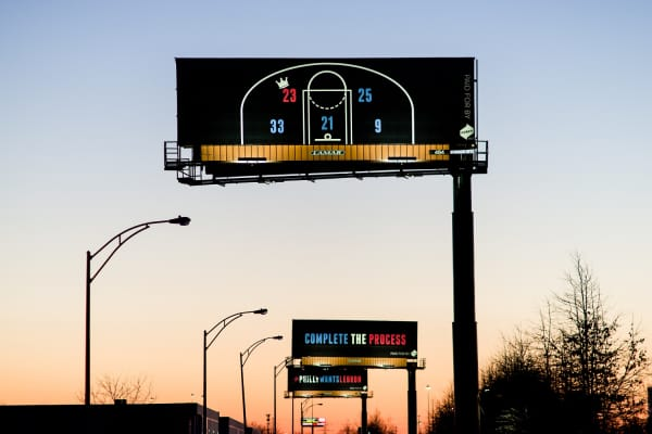Three billboards from Power Home Remodeling urging LeBron James to sign to the Philadelphia 76ers