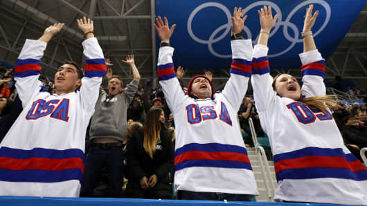 United States fan cheer during the Men's Ice Hockey Preliminary Round Group B game against Slovakia at Gangneung Hockey Centre on February 16, 2018 in Gangneung, South Korea.