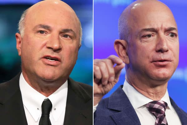 Kevin O'Leary (l) and Jeff Bezos.