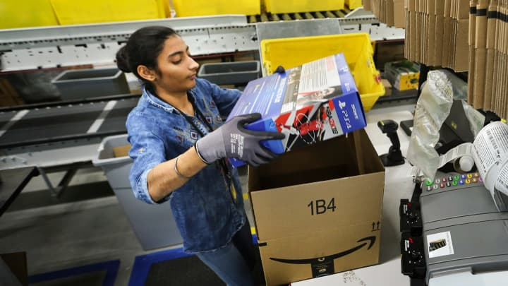 Amazon fulfillment center in Brampton, Ontario.