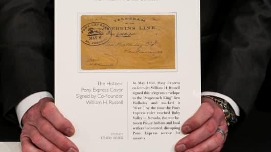The historic Pony Express cover signed by co-founder William H. Russell estimated to fetch between $75,000 and $100,000 at auction.