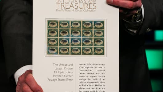 The largest known multiple of any inverted center postage stamp error expected to fetch between $300,000-$400,000 at auction.