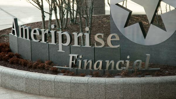 Ameriprise Financial signage displayed outside of the company's headquarters in Minneapolis, Minnesota.