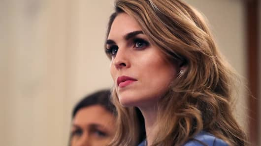 White House Communications Director Hope Hicks attends a listening session hosted by U.S. President Donald Trump with student survivors of school shootings, their parents and teachers in the State Dining Room at the White House February 21, 2018 in Washington, DC.