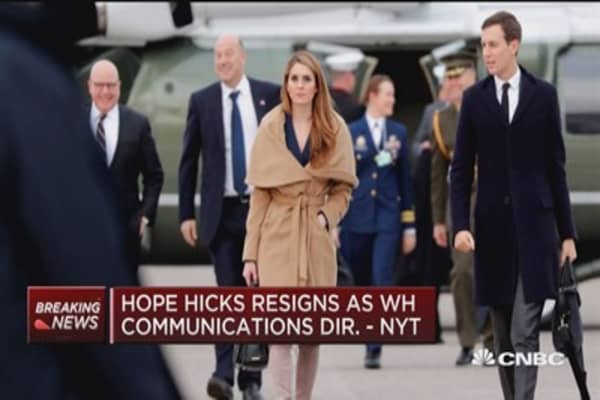 Hope Hicks resigns as White House communications director says NYT