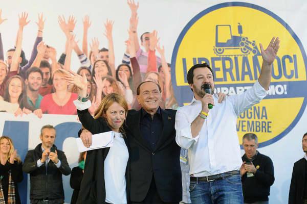 Giorgia Meloni leader of Fratelli d'Italia political party and italian ex prime minister Silvio Berlusconi leader of Forza Italia and Matteo Salvini leader of Lega Nord political party.