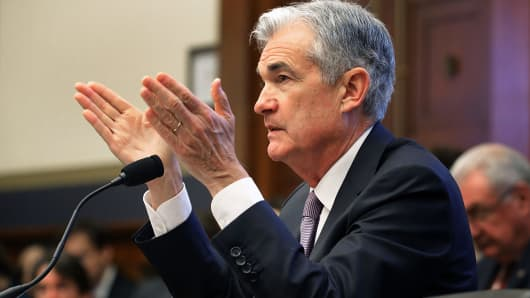 Federal Reserve Board Chairman Jerome Powell testifies before the House Financial Services Committee in the Rayburn House Office Building on Capitol Hill February 27, 2018 in Washington, DC.