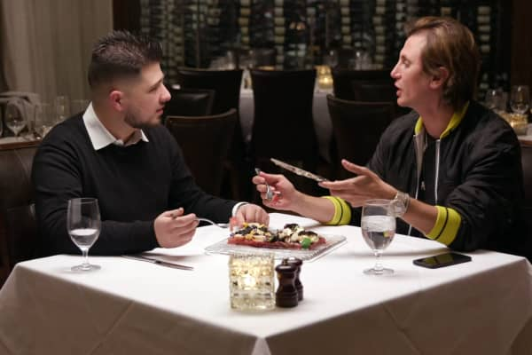 Jonathan Cheban (right) and a friend eat a $1,000 appetizer