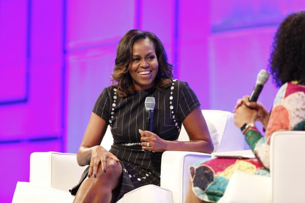 Former First Lady of the United States Michelle Obama speaks on stage during Pennsylvania Conference For Women 2017 at Pennsylvania Convention Center.