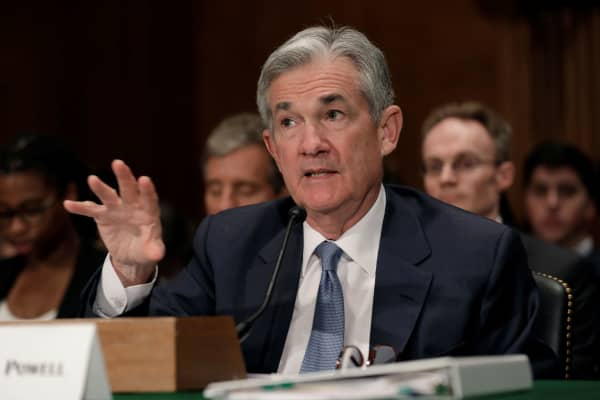 Federal Reserve Board Chairman Jerome Powell testifies before a Senate Banking Housing and Urban Affairs Committee hearing on the The Semiannual Monetary Policy Report to the Congress, on Capitol Hill in Washington, U.S., March 1, 2018.