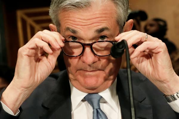 Federal Reserve Board Chairman Jerome Powell prepares to testify before a Senate Banking Housing and Urban Affairs Committee hearing on the The Semiannual Monetary Policy Report to the Congress; on Capitol Hill in Washington, March 1, 2018.