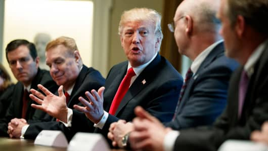 President Donald Trump speaks during a meeting with steel and aluminum executives in the Cabinet Room of the White House, Thursday, March 1, 2018, in Washington. From left, Roger Newport of AK Steel, John Ferriola of Nucor, Trump, Dave Burritt of U.S. Steel Corporation, and Tim Timkin of Timken Steel.