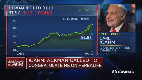 Icahn: I have not sold one single share of Herbalife