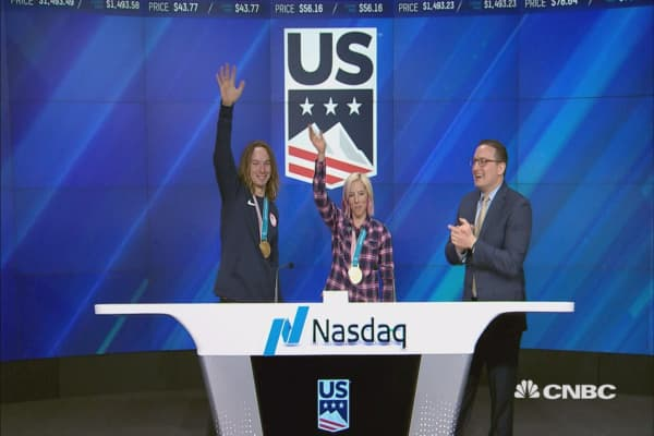 The U.S. Ski and Snowboard rings the closing bell at the Nasdaq MarketSite