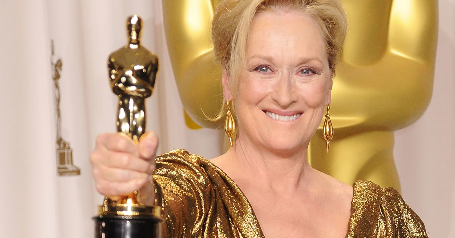 Actress Meryl Streep poses in the press room at the 84th Annual Academy Awards